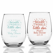 Twinkle Twinkle Little Star Personalized 9 oz Stemless Wine Glass (9 oz or 15 oz)
